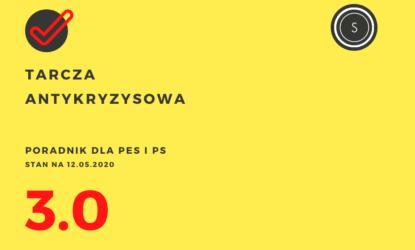 Grafika zawiera napisy: Tarcza Antykryzysowa, poradnik dla PES i PS