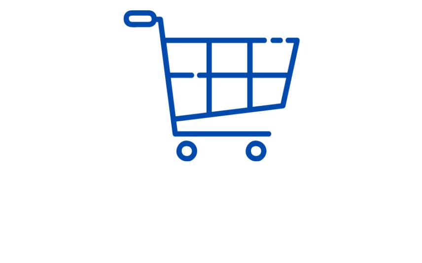 Grafika na białym tle, przedstawia wózek sklepowy w kolorze niebieskim.